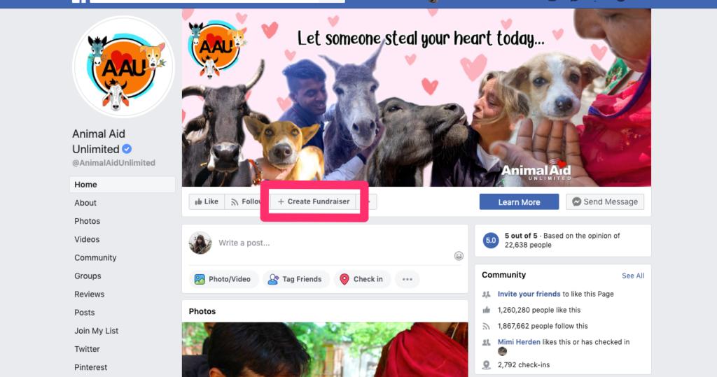 Pulsante Crea raccolta fondi di Facebook