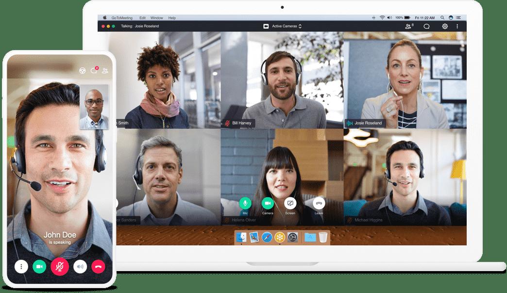 Riunione del gruppo GoToMeeting su app desktop e smartphone