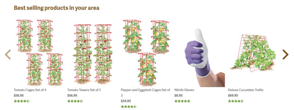 prodotti da giardino più venduti in base alla posizione.