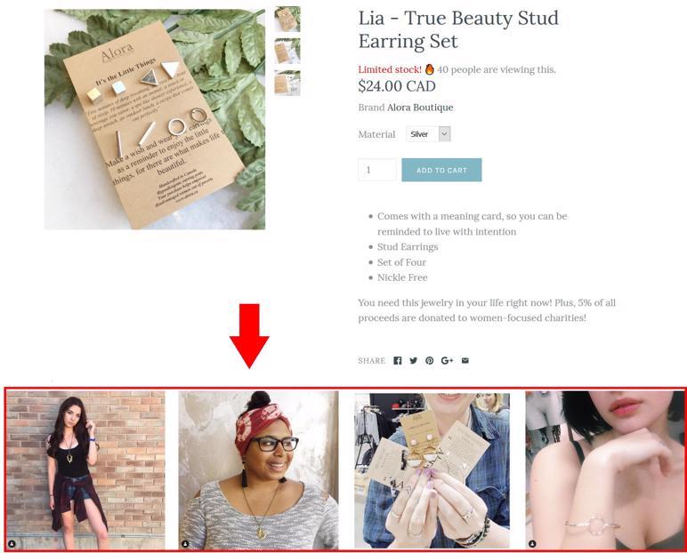 esempio di prova sociale con gli acquirenti che utilizzano il prodotto.