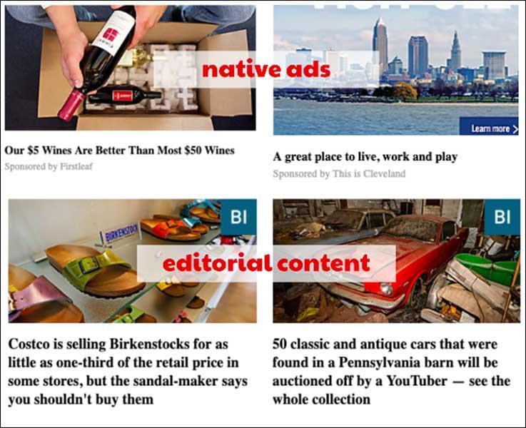 Esempi di annunci nativi e contenuti editoriali