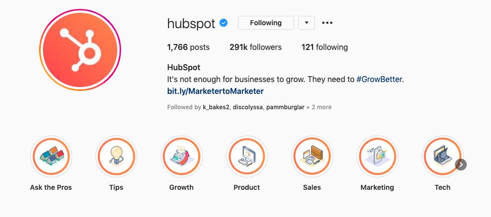 Identità del marchio su Instagram di HubSpot