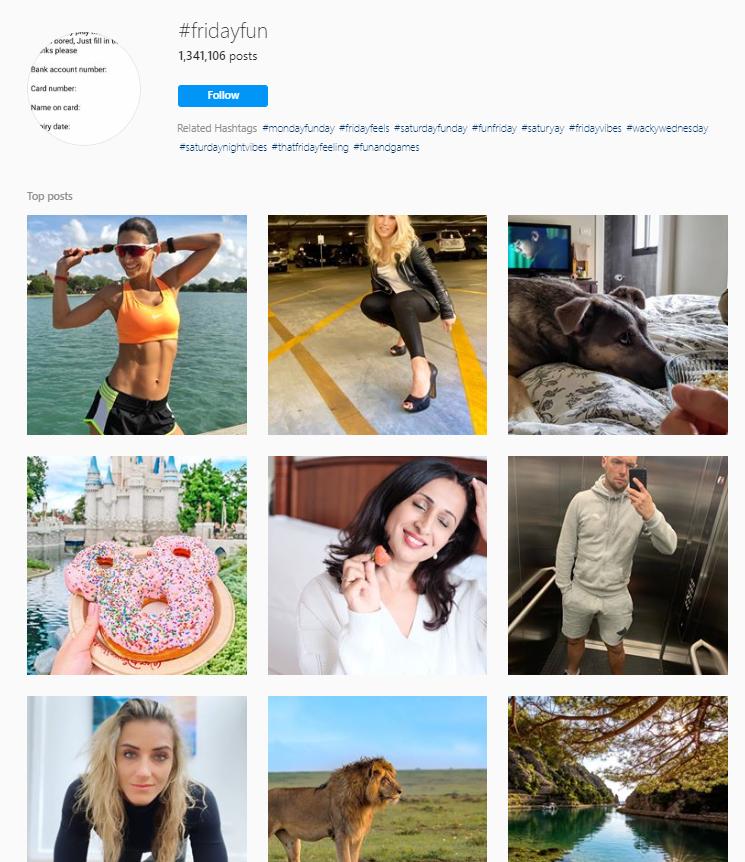 Hashtag di Fridayfun Instagram