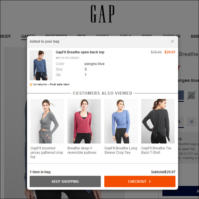 Gap offre un upsell raccomandando prodotti correlati