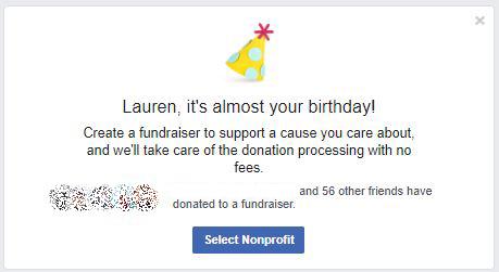 Richiesta di raccolta fondi per il compleanno di Facebook