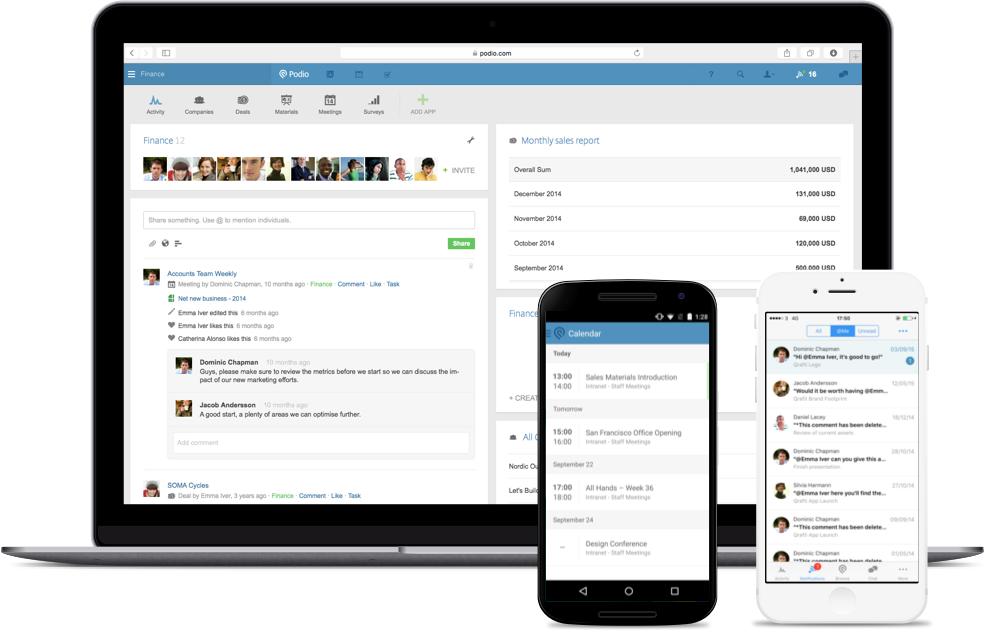 Piattaforma di gestione del progetto Podio per team