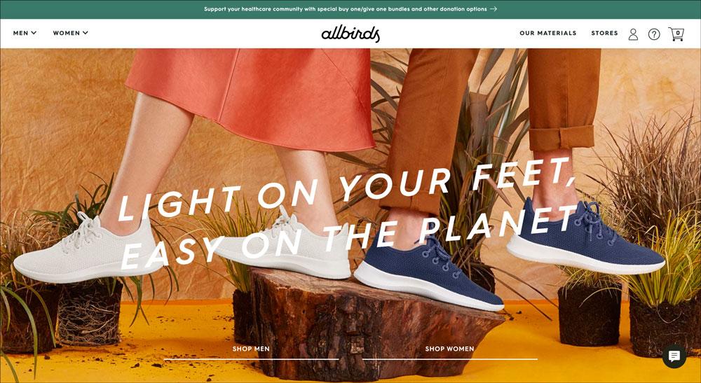 Homepage di Allbirds