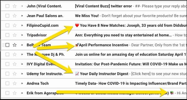 emoji nelle righe dell'oggetto della campagna e-mail
