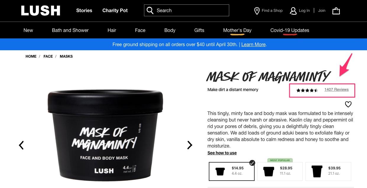 Pagina del prodotto Lush Mask eroe