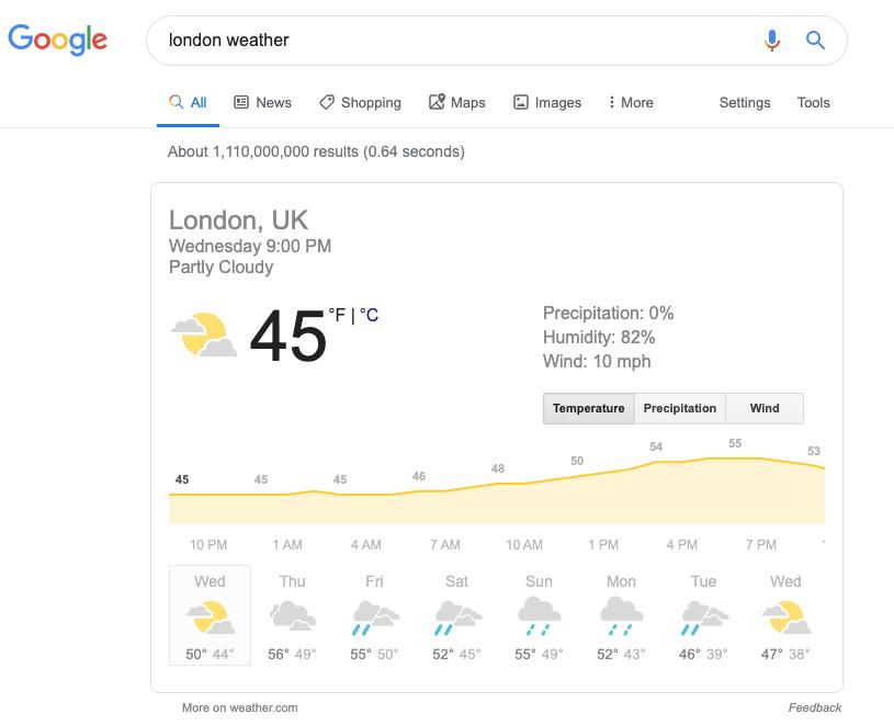 Schermata di un risultato di ricerca per il tempo a Londra