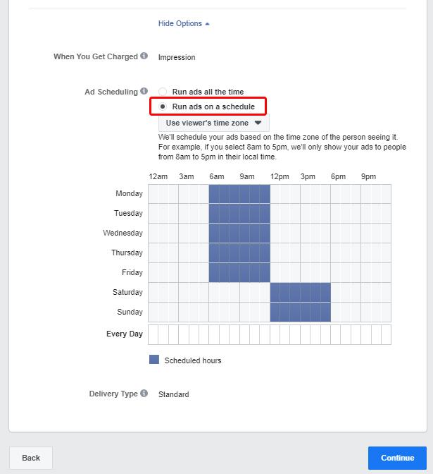 Pianificazione degli annunci di Facebook