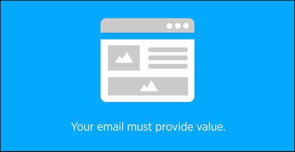 La tua email deve fornire valore