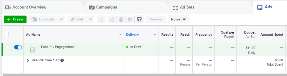 Dashboard di Facebook Ads Manager