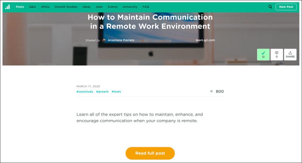 Articolo di blog su Come mantenere la comunicazione in un ambiente di lavoro remoto