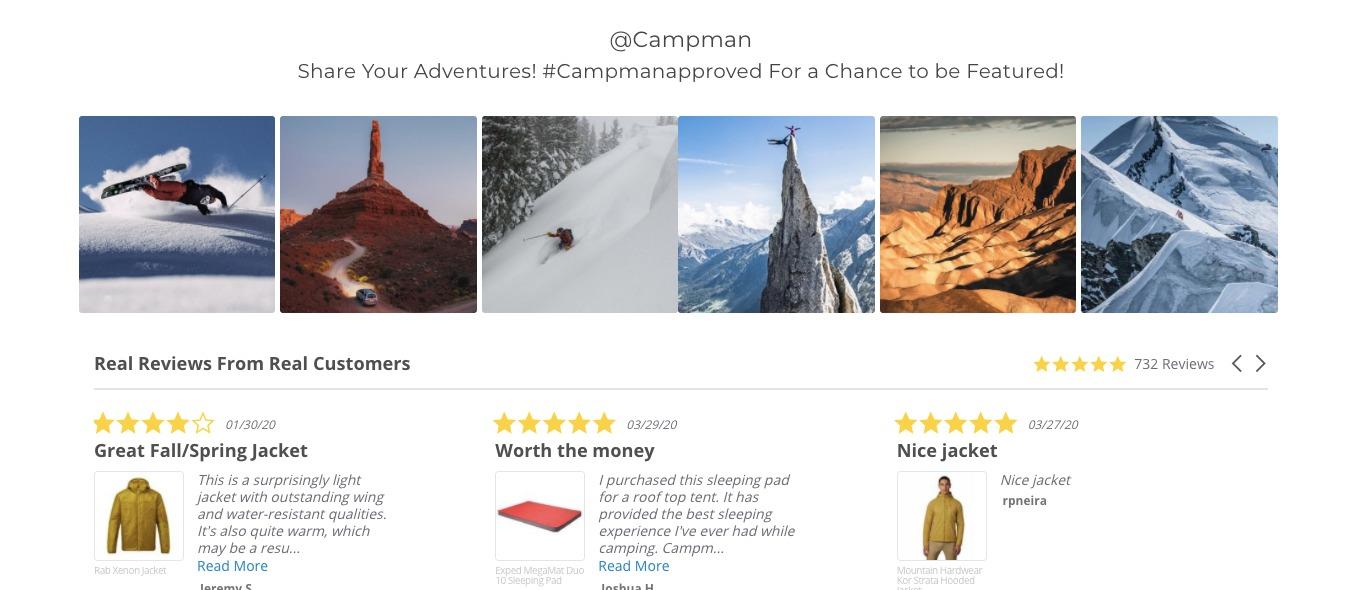 Homepage di Campman a prova sociale