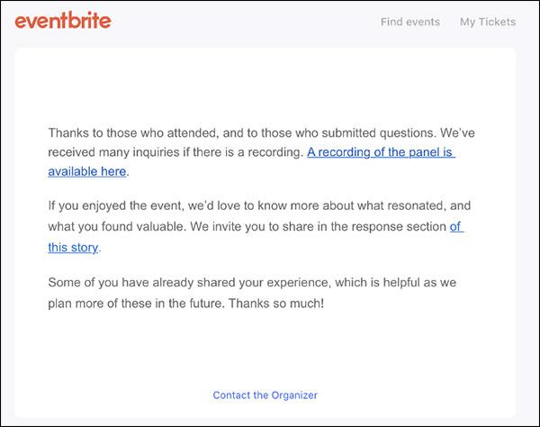 email di trasmissione di eventbrite