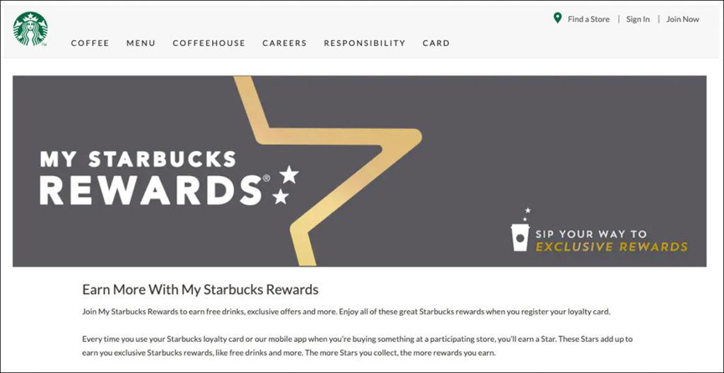 Pagina di destinazione dei premi di Starbuck