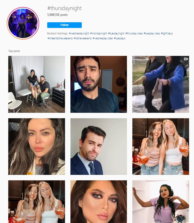 Giovedì sera hashtag di Instagram