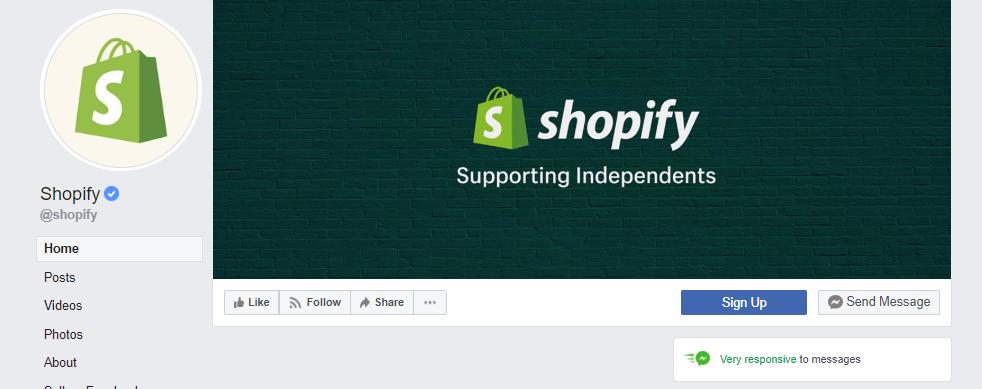 Pagina Facebook di Shopify