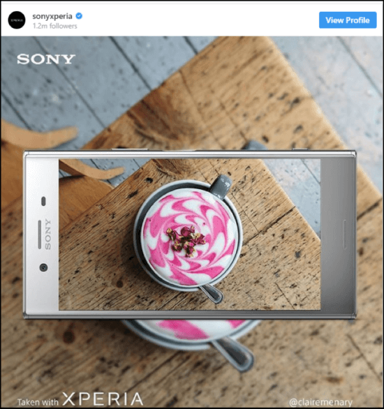 "Social post di Sony Experia ""width ="" 550 ""height ="" 586 ""srcset ="" https://megamarketing.it/wp-content/uploads/2020/04/_949_7-modi-per-raggiungere-e-influenzare-i-millennial-usando-il-social-media-marketing.png 550w , https://www.smartinsights.com/wp-content/uploads/2019/12/Sony-Experia-social-post-700x746.png 700w, https://www.smartinsights.com/wp-content/uploads/ 2019/12 / Sony-Experia-social-post-141x150.png 141w, https://www.smartinsights.com/wp-content/uploads/2019/12/Sony-Experia-social-post-250x266.png 250w, https://www.smartinsights.com/wp-content/uploads/2019/12/Sony-Experia-social-post.png 758w ""dimensioni ="" (larghezza massima: 550px) 100vw, 550px"