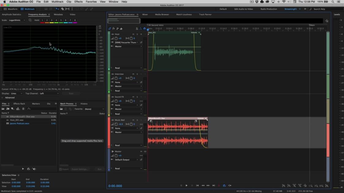 interfaccia di modifica di Adobe Audition.