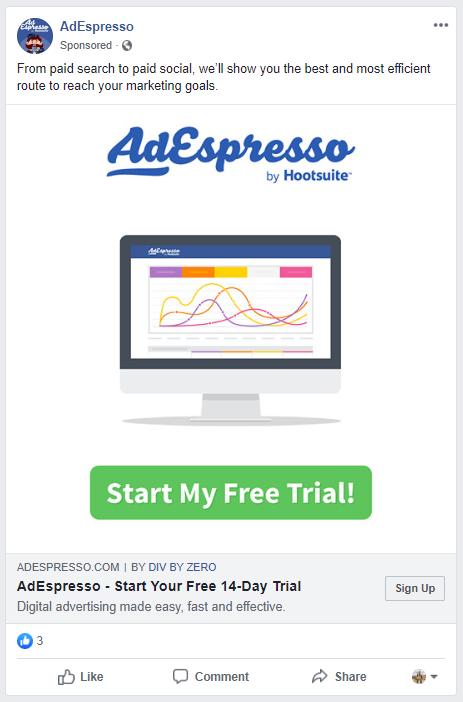 Annuncio di prova gratuito di AdEspresso