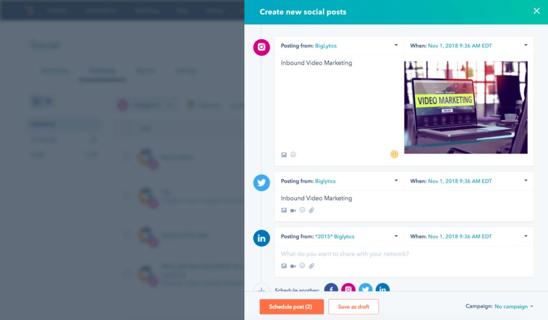 Esempio di strumenti di social media HubSpot