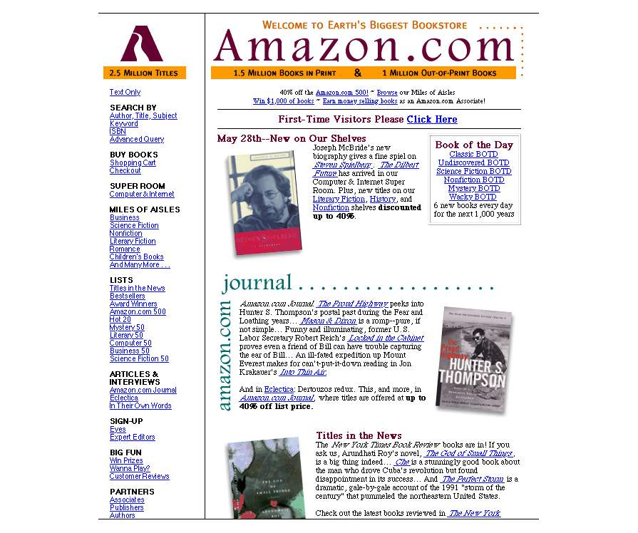 amazon website ^ 1997 ^ ripristinata la homepage di amzn
