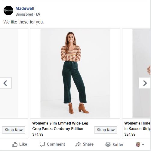 esempio di pubblicità mirata per il marketing della moda