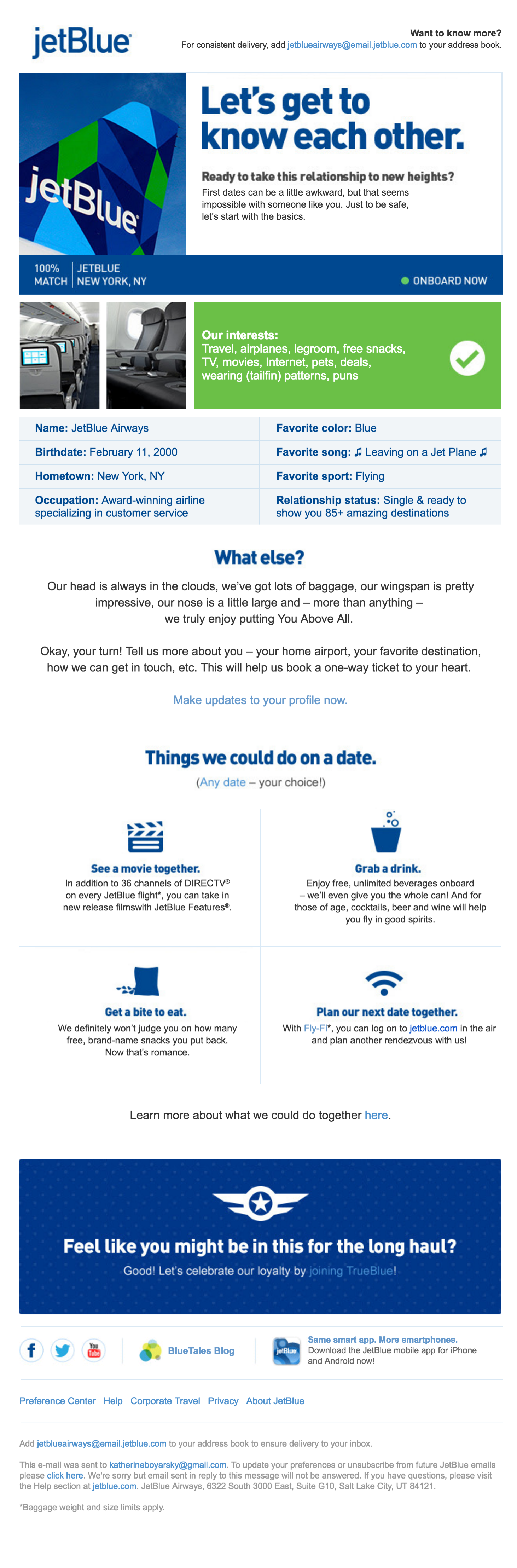 JetBlue Email esempio nutrimento lead
