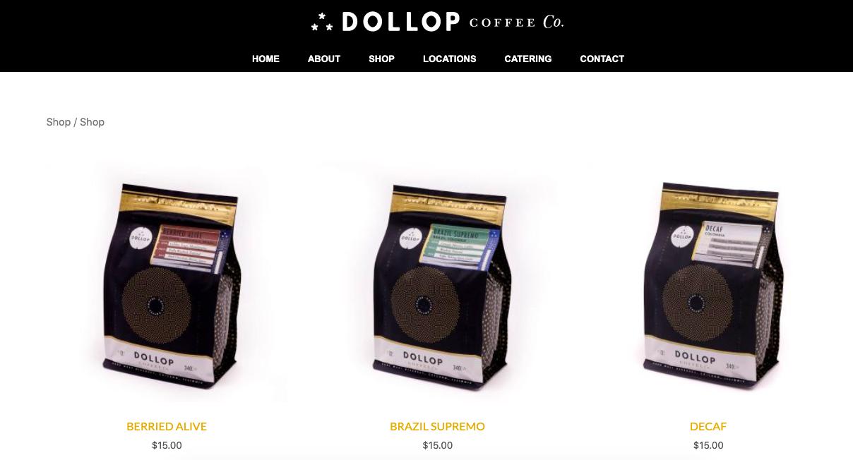 desktop di caffetteria dollop
