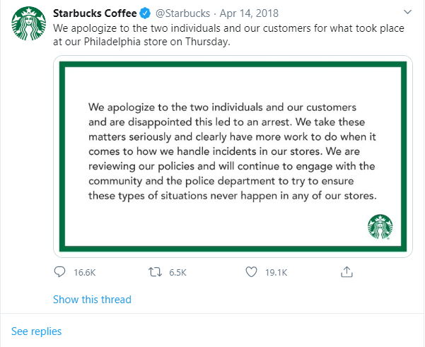 Scuse di Starbucks ad es.