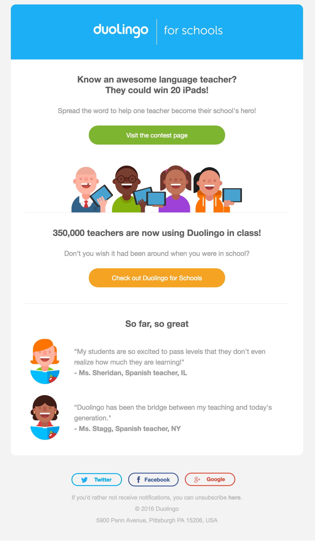 Duolingo è un esempio di nutrimento