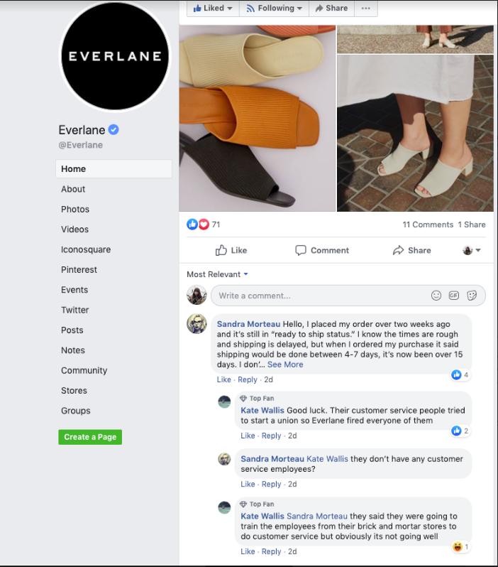Gestione della reputazione online Everlane ad es.