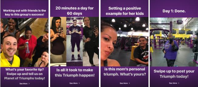 storia di instagram planet fitness