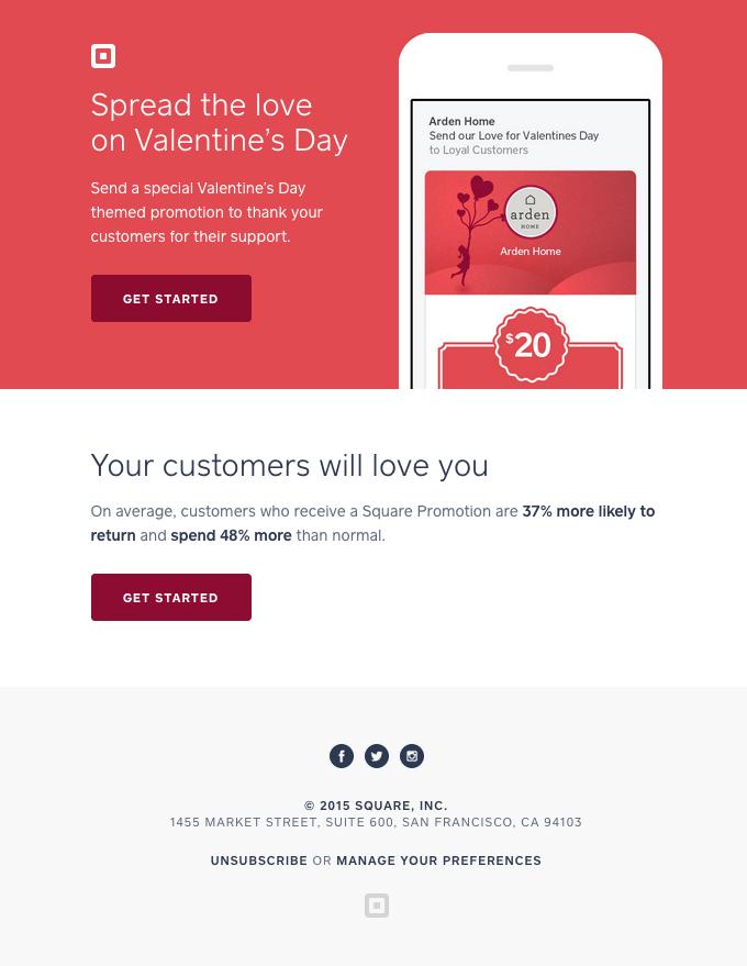 Square Valentines Email: esempio nutrimento