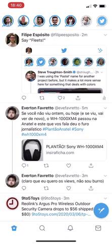 homepage di Twitter con flotte