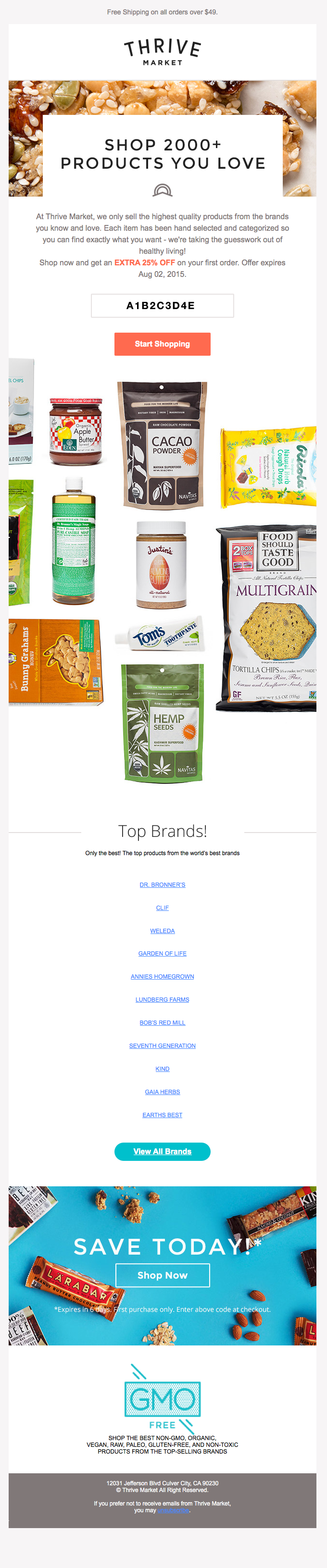 Thrive Food Email: esempio di nutrimento