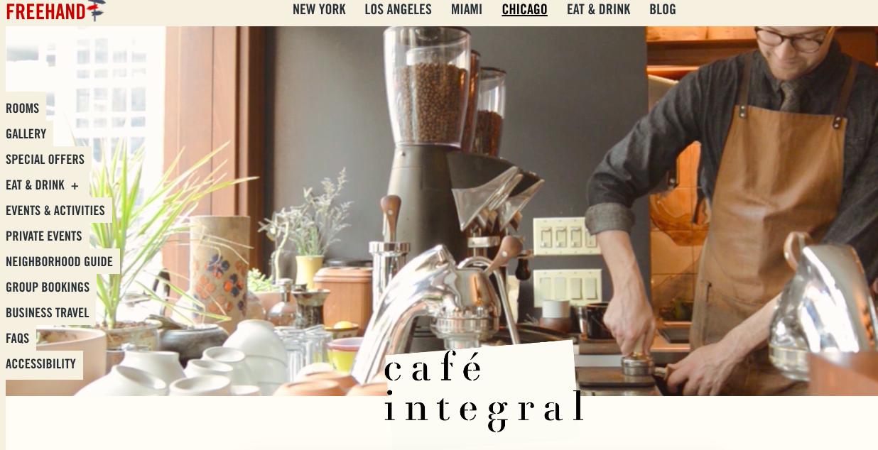 Sito Web dell'hotel a mano libera con Cafe Integral.