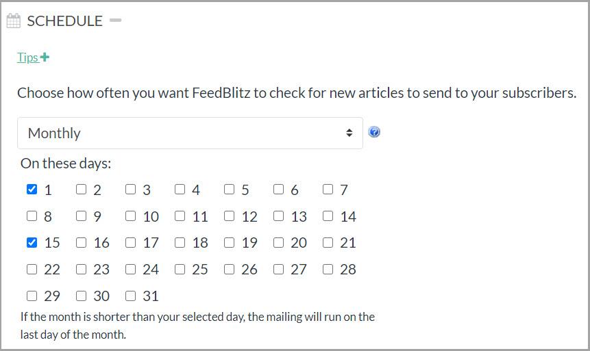Screenshot dell'opzione di pianificazione mensile con la prima e la quindicesima scelte come opzioni.