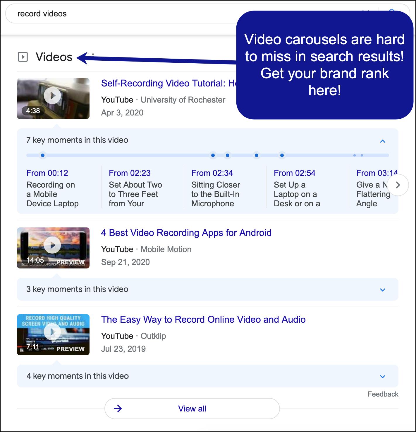 Esempio di caroselli video nei risultati di ricerca di Google