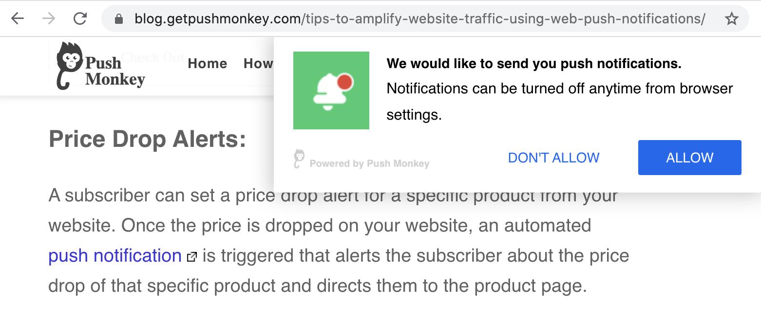 Esempio di strumenti che ti consentono di configurare le notifiche push per il tuo sito web.