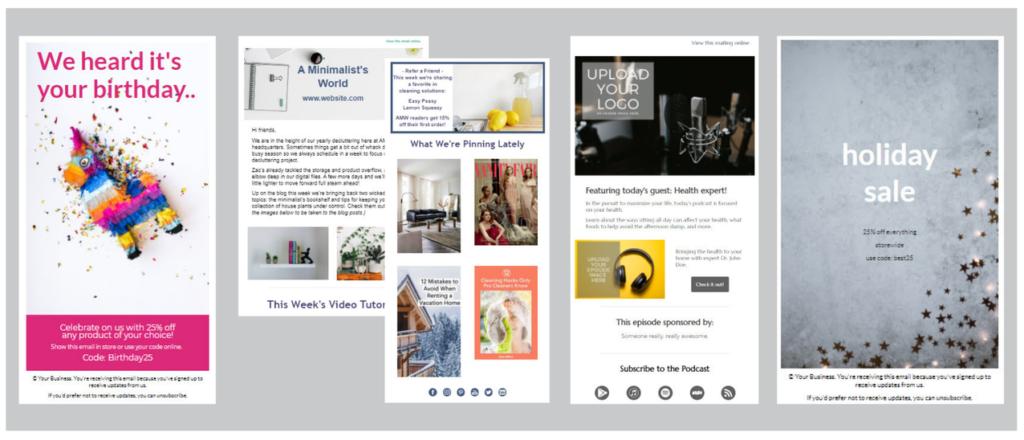 Collage che mostra quattro diversi modelli di email: uno sconto di compleanno, una newsletter settimanale con più blocchi, un nuovo annuncio di un episodio podcast e un volantino per i saldi delle vacanze.