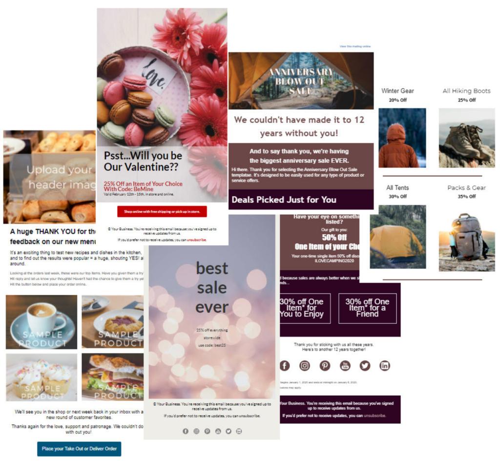 Collage che mostra quattro diversi modelli di e-mail che mettono in evidenza gli usi al dettaglio, tra cui l'e-mail di un ristorante speciale, uno sconto di San Valentino, un annuncio di vendita e un modello di vendita al dettaglio avanzato con più sezioni, blocchi e immagini.