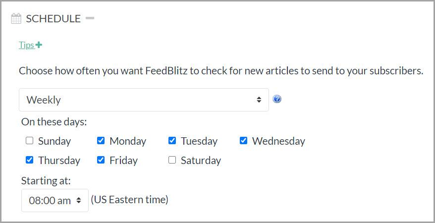 Screenshot delle opzioni di pianificazione settimanale.  Dal lunedì al venerdì sono selezionati come opzioni.
