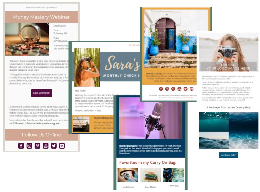 Collage che mostra tre diversi modelli di e-mail in evidenza, tra cui l'iscrizione a un webinar, una newsletter mensile con più blocchi e un'e-mail fotografica che mostra una galleria di immagini.