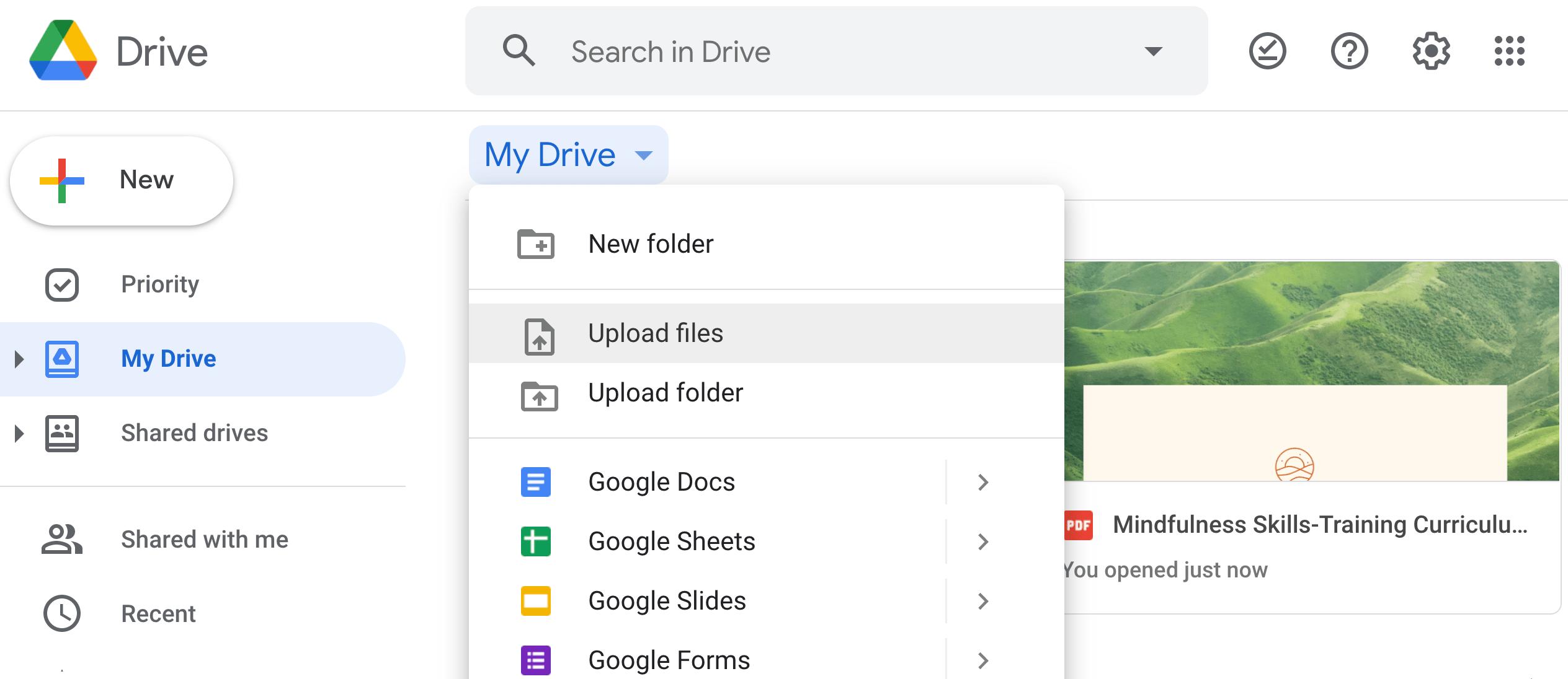 Home page di Google Drive per condividere file di grandi dimensioni