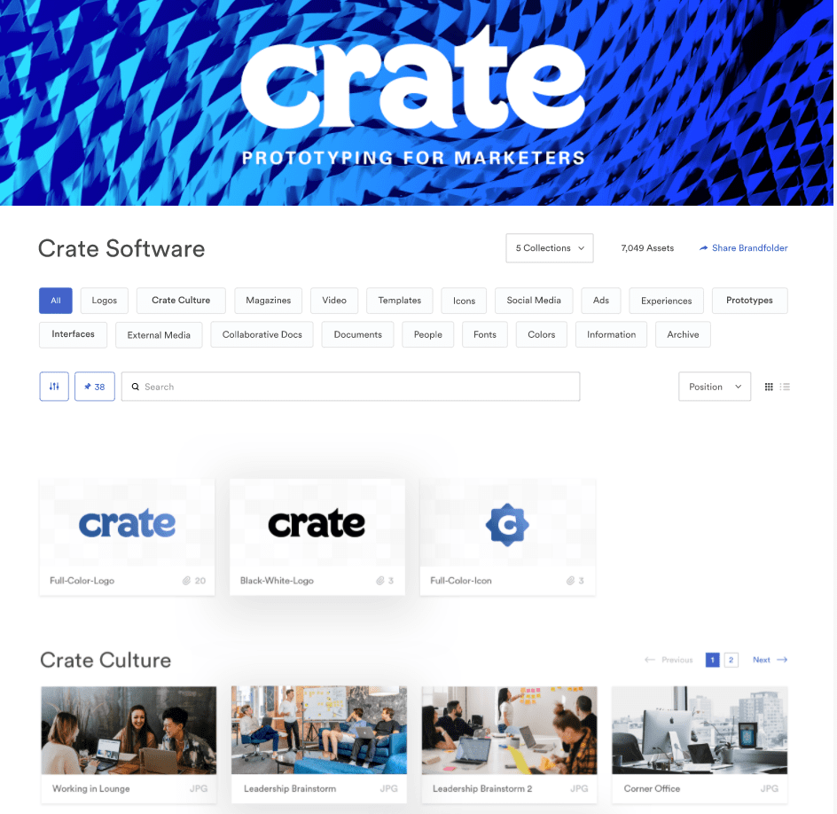 schermata di esempio cartella brand per Crate Software