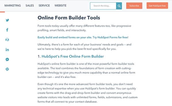 post sul blog sugli strumenti per la creazione di moduli