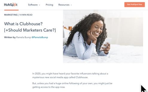 Esempio di come il blog HubSpot ha risposto alla tendenza della Clubhouse